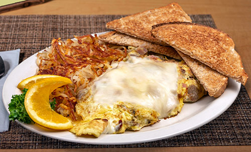 meat lover's omelette breakfast